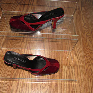 Coup D'etat Leather Wine Mules Slip-On Shoes 6.5B